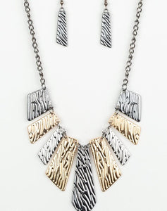 "Paparazzi Accessories - Paparazzi ""Texture Tigress"" - Multicolor Necklace and Earring Set - Necklaces"