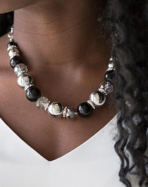 Paparazzi Accessories - The Camera Never Lies | Black Silver Bead | Paparazzi Necklace and Earring Set - Necklaces