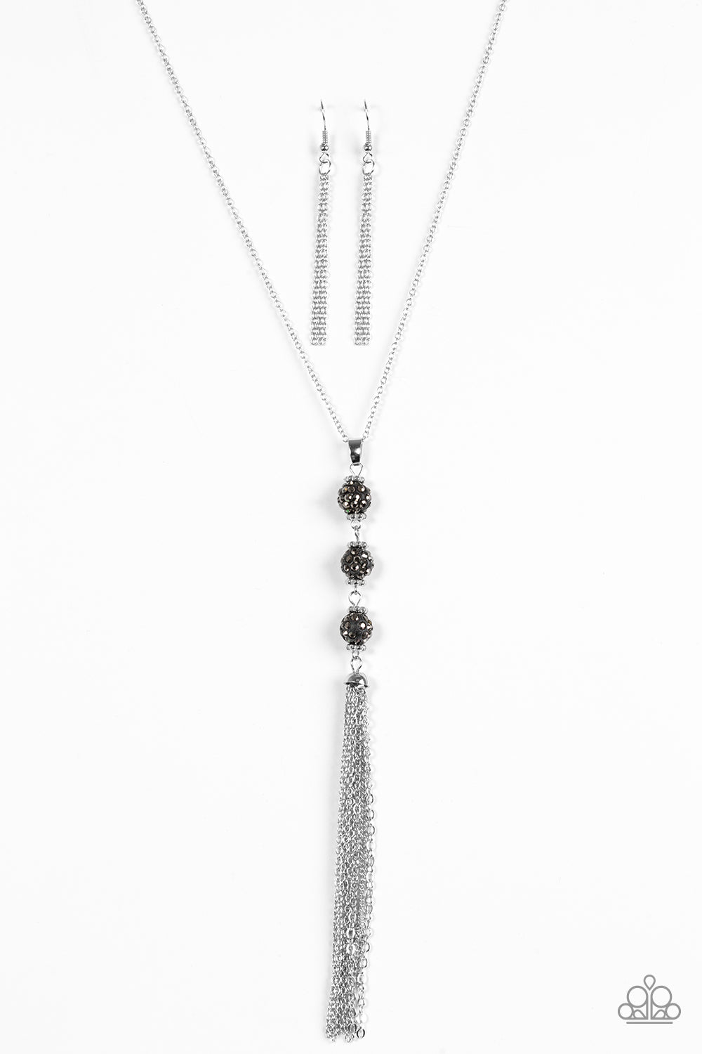 "Paparazzi Accessories - Paparazzi ""The DIVA Wears Prada"" Black Rhinestone Bead Necklace and Earring Set - Necklaces"