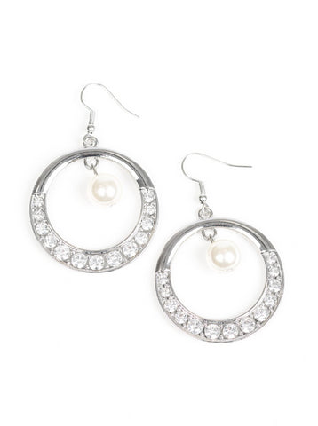 "Paparazzi Accessories - Paparazzi ""The Icon-ista"" White Pearl Rhinestone Silver Hoop Earring Fashion Fix March 2019 - Earrings"