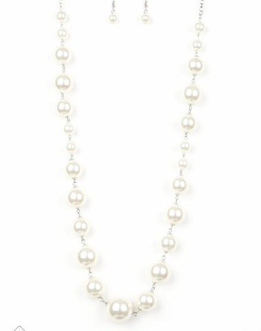 "Paparazzi Accessories - Paparazzi ""The Show Must Go On!"" White Pearl March Fashion Fix Necklace and Earring Set - Necklaces"