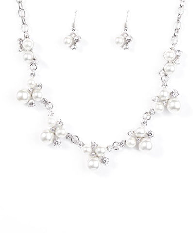 Paparazzi Accessories - Toast To Perfection - White Necklace and Earring Set - Necklaces
