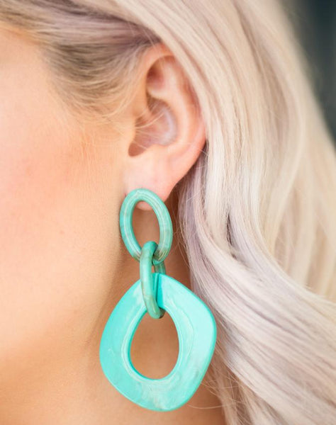 Paparazzi Accessories - Paparazzi Torrid Tropicana - Blue Asymmetrical Marble Hoop Earring - Earrings