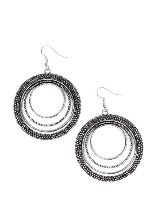 "Paparazzi Accessories - Paparazzi ""Totally Textured"" Antique Silver Earring Fashion Fix March 2019 - Earrings"
