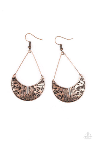 Paparazzi Accessories - Paparazzi Trading Post Trending Copper Tribal Inspired Earring - Earrings