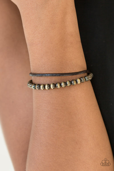 "Paparazzi Accessories - Paparazzi ""Tranquil Trails"" Brown Metallic Bead Leather Cord Bracelet Unisex - Bracelets"