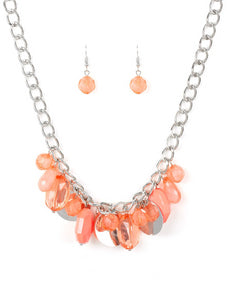 "Paparazzi Accessories - Paparazzi ""Treasure Shore"" Fashion Fix Glimpses of Malibu Orange Necklace and Earring Set - Necklaces"