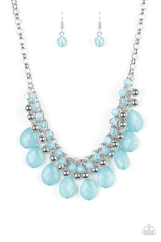 Paparazzi Accessories - Paparazzi - Trending Tropicana - Blue Teardrop Silver Bead Necklace and Earring Set - Necklaces