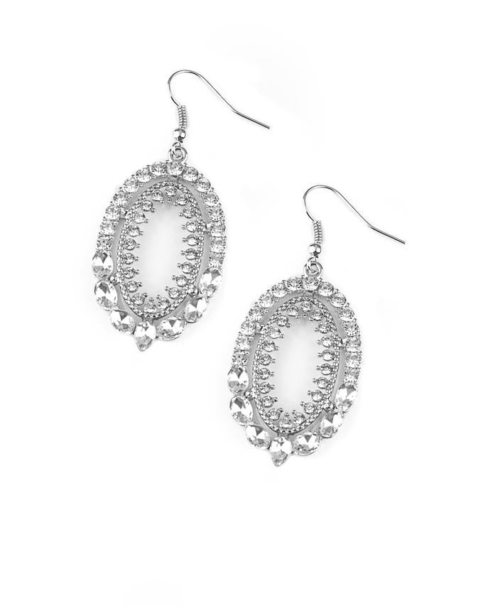Paparazzi Accessories - Trophy Shimmer White Earring - Earrings