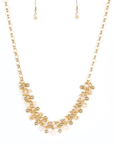 "Paparazzi Accessories - Paparazzi ""Trust Fund Baby"" - Gold Necklace and Earring Set - Necklaces"