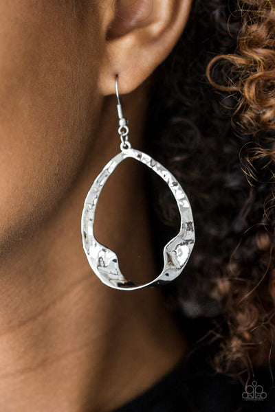 Paparazzi Accessories - Twist Me Round | Silver Hammered | Paparazzi Earring - Earrings