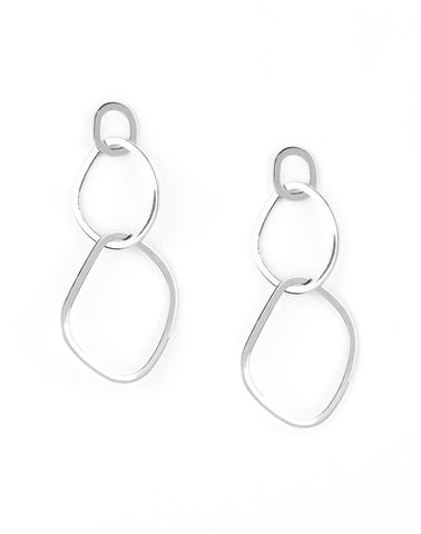"Paparazzi Accessories - Paparazzi ""Twisted Trio"" - Silver - Earrings"