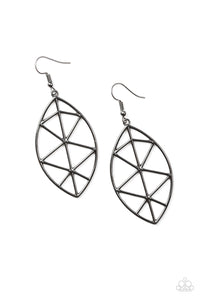 Paparazzi Accessories - Paparazzi Unbreakable Black Shattered Leaf Geometric Earring - Earrings