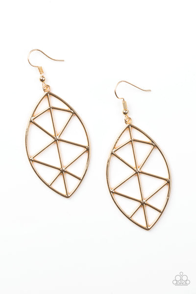 Paparazzi Accessories - Paparazzi Unbreakable Gold Shattered Leaf Geometric Earring - Earrings