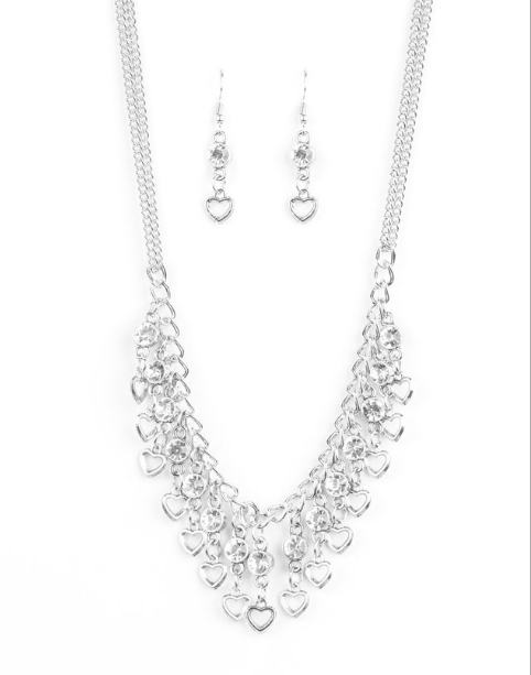 Paparazzi Accessories - Paparazzi | Valentines Day Drama | White Heart Necklace and Earring Set - Necklaces