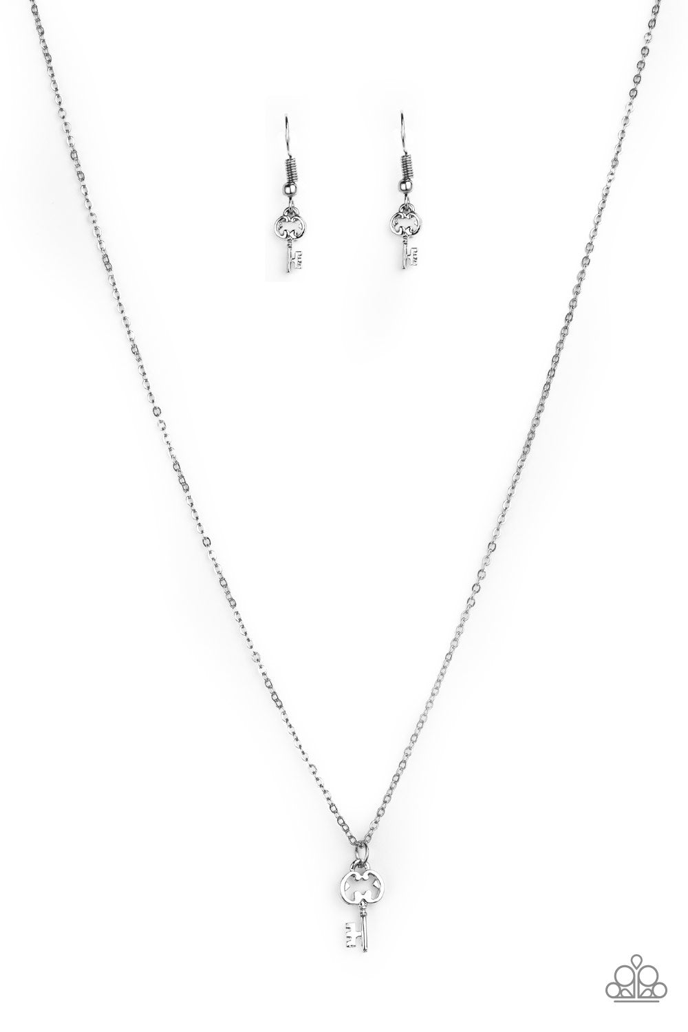 Paparazzi Accessories - Paparazzi Very Low Key - Silver Key Pendant Necklace and Earring Set - Necklaces