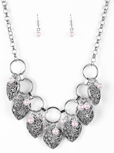 "Paparazzi Accessories - Paparazzi ""Very Valentine"" Vintage Pink Pearl Silver Heart Necklace and Earring Set - Necklaces"