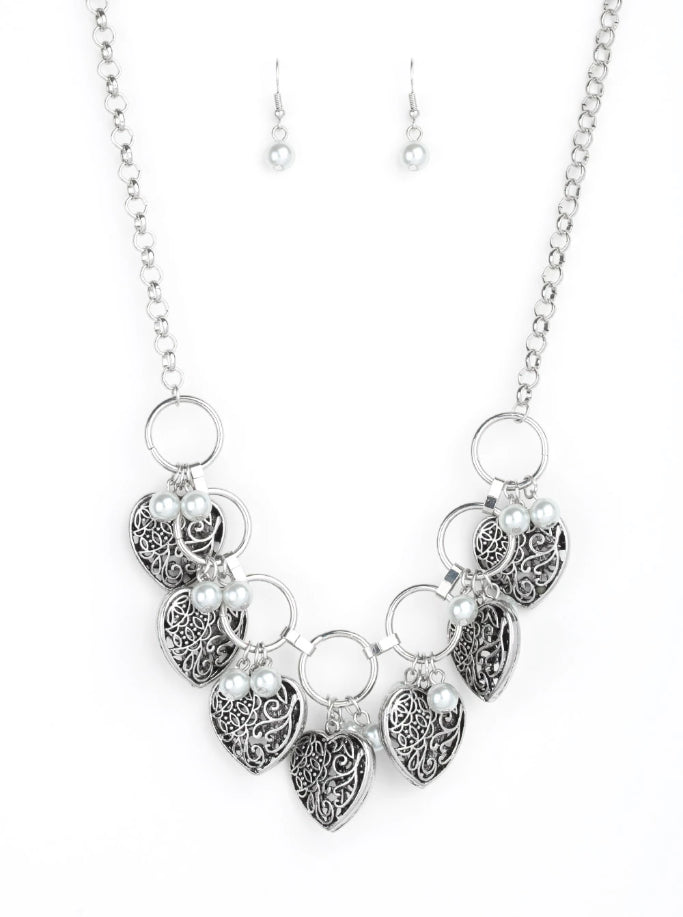 "Paparazzi Accessories - Paparazzi Necklace ""Very Valentine"" - Silver - Necklaces"