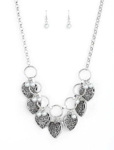 "Paparazzi Accessories - Paparazzi ""Very Valentine"" Vintage White Pearl Silver Heart Necklace and Earring Set - Necklaces"