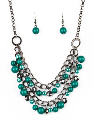 Watch Me Now Green Paparazzi Necklace and Earring Set