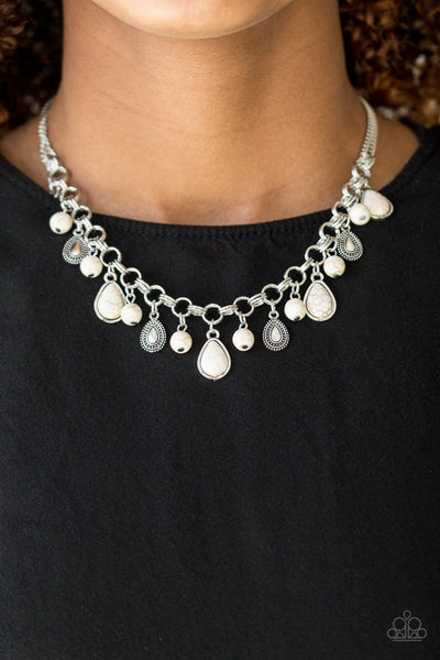 Paparazzi Accessories - Paparazzi Necklace - Welcome To Bedrock - White - Necklaces