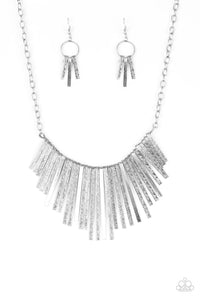 Paparazzi Welcome To The Pack - Silver Tapered Fringe Necklace and Earring Set - Paparazzi Accessories - Necklaces - BeeDazzled Jewel Boutique Paparazzi