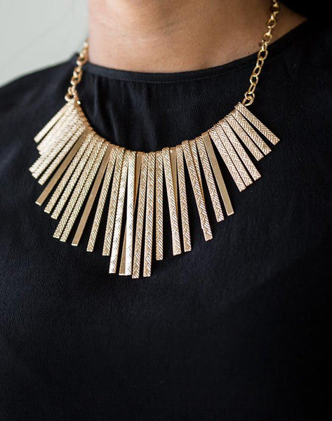 Paparazzi Welcome To The Pack - Gold Tapered Fringe Necklace and Earring Set - Paparazzi Accessories - Necklaces - BeeDazzled Jewel Boutique Paparazzi