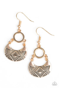 Paparazzi Accessories - West Side Wild | Gold | Crescent Geometric Earrings - Earrings