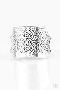 Wild Meadows | Silver | Floral Paparazzi Ring