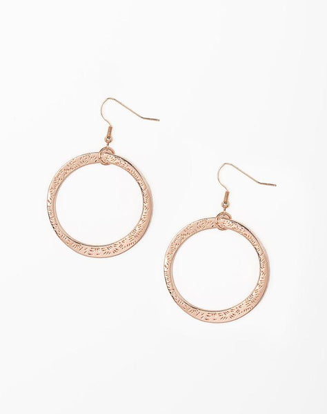 Paparazzi Accessories - Wildly Wild-lust - Rose Gold Paparazzi Hammered Asymmetrical Hoop Earring - Earrings