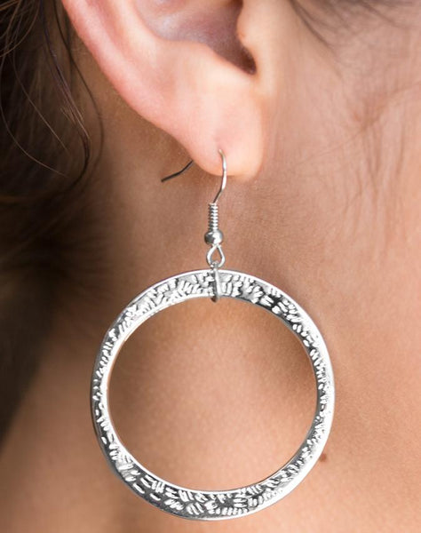 Wildly Wild-lust - Rose Gold Paparazzi Hammered Asymmetrical Hoop Earring