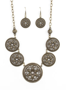"Paparazzi Accessories - Paparazzi ""Written In The STAR LILIES"" Brass Floral Rhinestone Necklace and Earring Set - Necklaces"