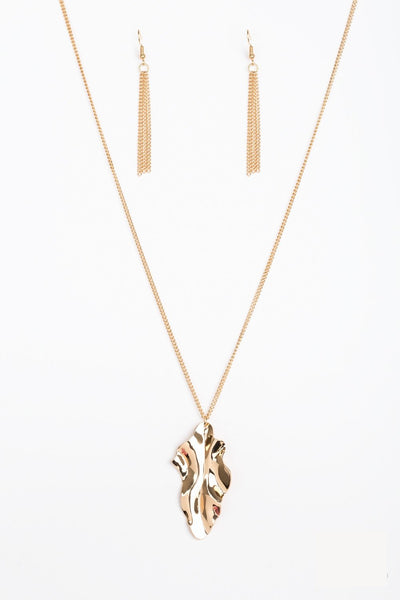 "Paparazzi Accessories - ""Fiercely Fall"" Paparazzi Gold Leaf Necklace and Earring Set - Necklaces"