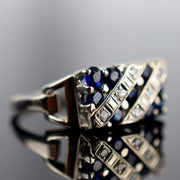 vintage white gold sapphire and diamond ring, folklor, canada