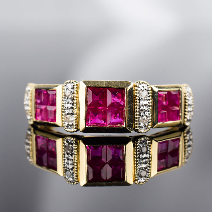Vintage Ruby and Diamond Band