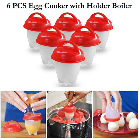6 Pcs Egg Boiler with Holder Eco-friendly