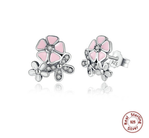 925 Sterling Silver Poetic Daisy Cherry Blossom Drop Earrings