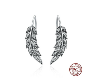 Authentic 925 Sterling Silver Vintage Feather Wings Long Drop Earrings