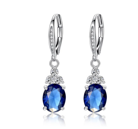 New Authentic White & Blue Crystal Anti-allergic Environmentally Fashion Copper Zircon Jewelry Drop Earring