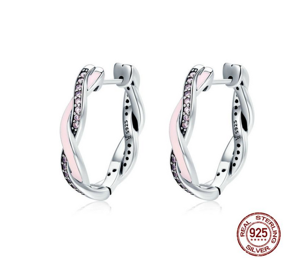 Authentic 100% 925 Sterling Silver Pink & Clear CZ Twist Of Fate Hoop Earrings for Women