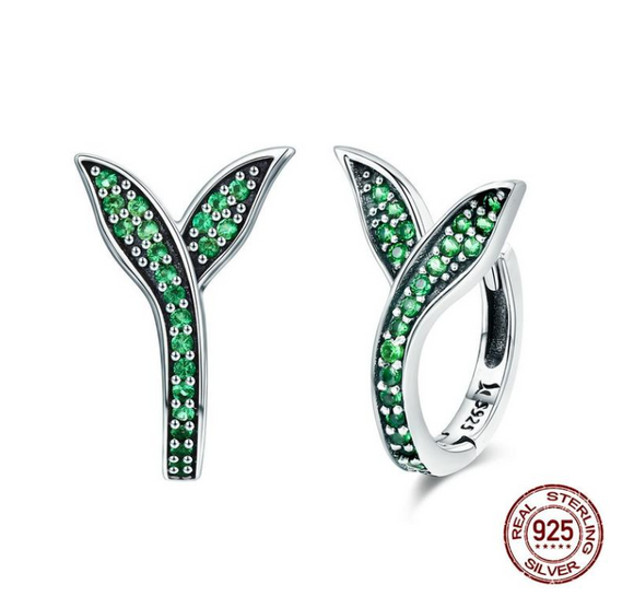 Sterling Silver 100% 925 Spring Collection Flower Buds Green CZ Hoop Earrings for Women