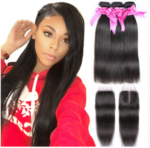 Human Hair Bundles With Closure Malaysian Straight Hair Bundles With Closure Remy 3 Bundles With Closure Straight