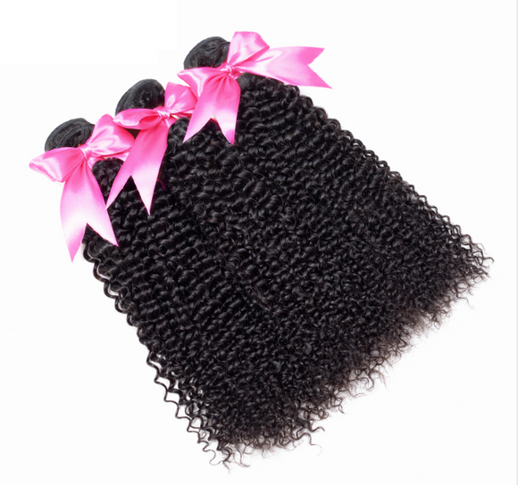 3 Bundles Kinky Curly Hair Extension Peruvian Human Hair Bundles 100% Remy Hair Weaves Natural Color