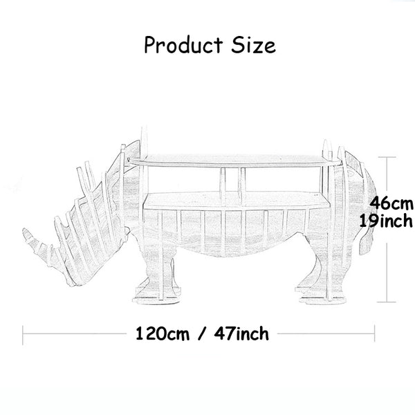 1 set 47*19 Inch MDF DIY Assemble Wooden Rhinoceros Table Bookshelf Cabinet House Furniture