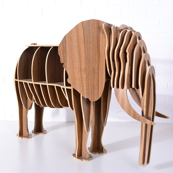 High-end DIY Wood Desk Elephant Storage Table Wooden Animal Wild Africa Elephant Creative Furniture For Art Home Decor