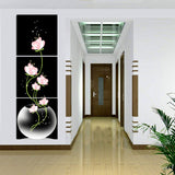Frameless 3 Panels Beautiful Flowers Printed On Canvas For Entryway Black Background Home Decor Wall Art Oil Painting 40x40cm