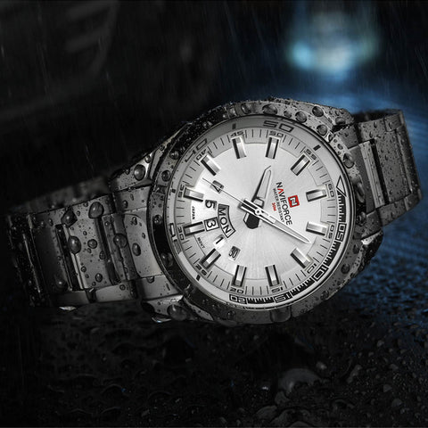 Men Sports Watches Men's Quartz Clock Stainless Steel