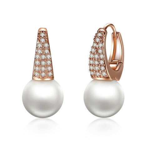 Rose Gold Color Earrings for Women with Simulated Pearls & Crystals Earrings