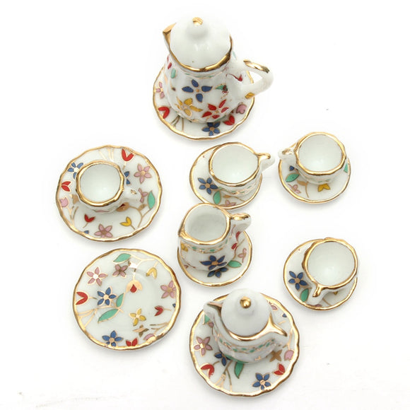 Mini Colorful Floral Ceramic Tea Set Doll house Furniture Dining Ware Dish Cup Plate Ornaments Figurines