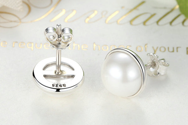 Fashion 925 Sterling Silver Elegant Beauty, Round White Pearl Stud Earrings